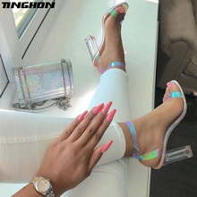 TINGHON Women Novelty PVC Sandals Open Round Toe Square High Heels Transparent Buckle Strap Clear Glass Heel PU Dress 35-40
