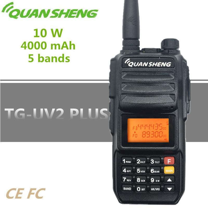 QUANSHENG TG-UV2 PLUS Walkie Talkie 10W High Power 4000MAH UHF VHF 5 Bands 200 Channels Police 350-390MHz Baofeng 10W UV-9R PLUS