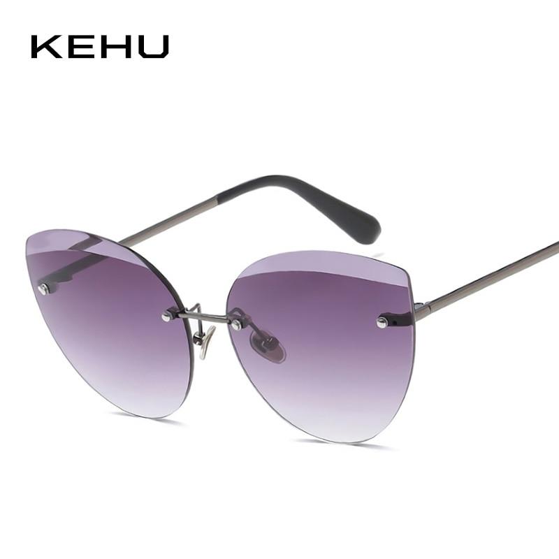 KEHU Women Sunglasses Cat Eye Oval Sun Glasses Brand Designer Designing Blg Eyebrows Eyewear Oversized Sunglasses UV400 K9670