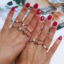 WNGMNGL New Trendy Multi-Piece Set Bohemia Women Gold Heart Pink Stone Rings 10Pcs/Set Jewely Crystal Delicate Ring For