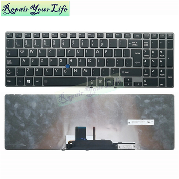 Backlit English laptop keyboard for Toshiba for Tecra Z50 Z50-A Z50-A1502 Z50-A1510 US layout black gray frame mobile pointer new for samsung np 900x3b 900x3c 900x3d 900x3e laptop keyboard backlit br brazil no frame big enter