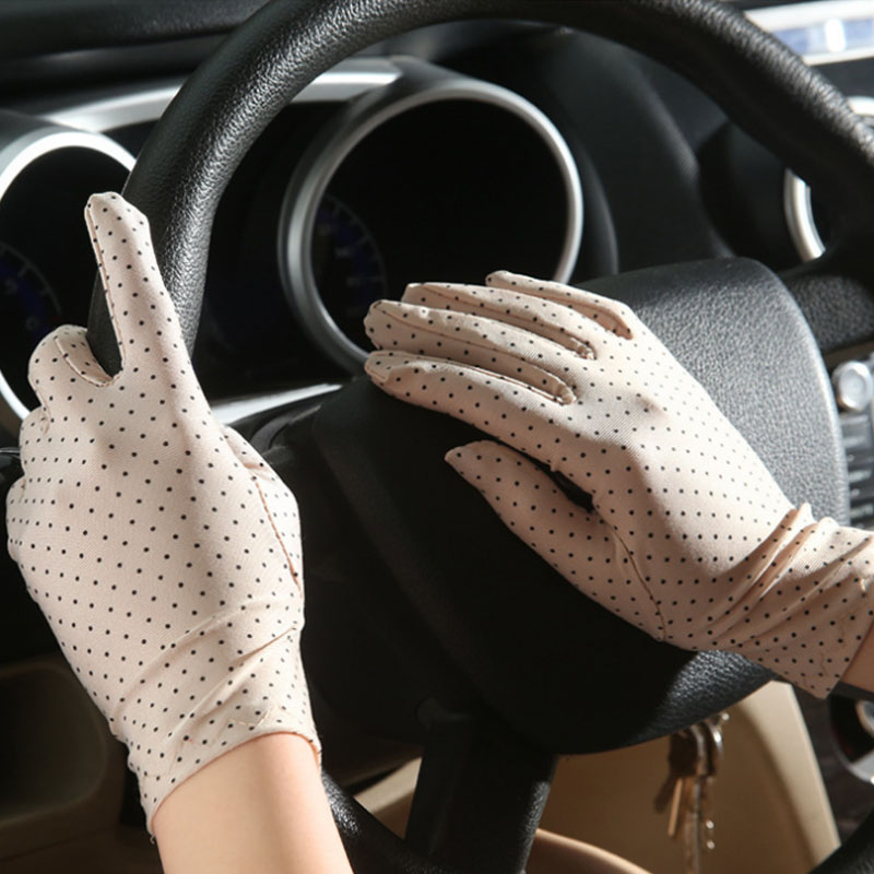 Fashion Summer Drive Women Sun Protection Wrist Gloves & Mittens Dot Elastic Lady Girl Women's  Gloves Drop Shipping G007