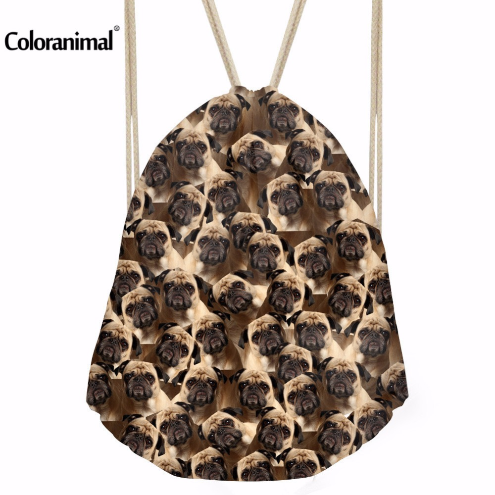 Coloranimal Pug Dog Wolf Puzzle Printing Women Backpack Fashion 3D Animal Daily Drawstring Bag For Men Boys Girls School Bookbag