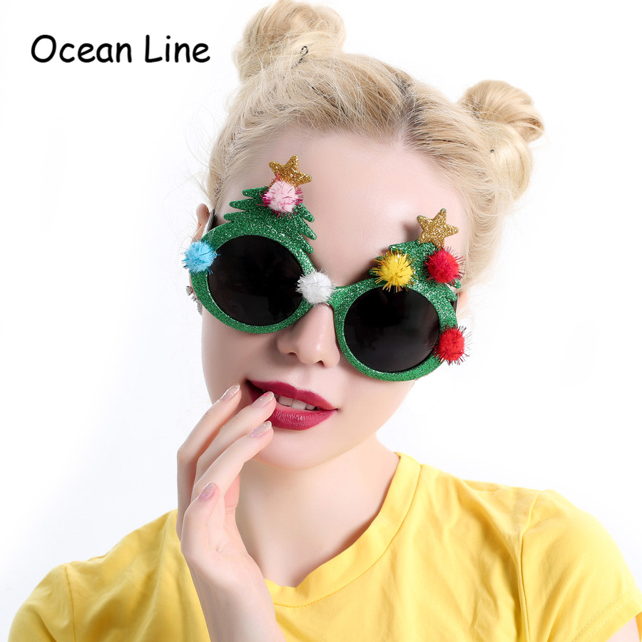 Decorative Shiny Christmas Tree Decoration Gifts Party Costume Glasses Novelty Sunglasses New Year Party Supplies Event Ornament