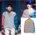 2015 Autumn GOT7 Just Right Junior Jr Cute Striped Unisex long sleeve O-Neck hoodies hot sale