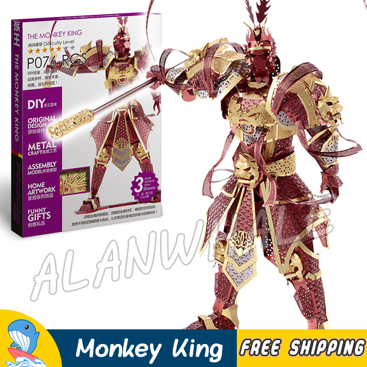 3D Metal Puzzle Super Heroes The Monkey King Classic Metallic Chinese Mythical Figures Model Assemble Kits Teenagers Toys Jigsaw