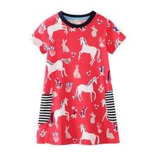 все цены на Baby Girls Dress Summer Unicorn Costume for Kids Clothing 2019 Children Party Dresses for Girls Clothes Princess Dress онлайн
