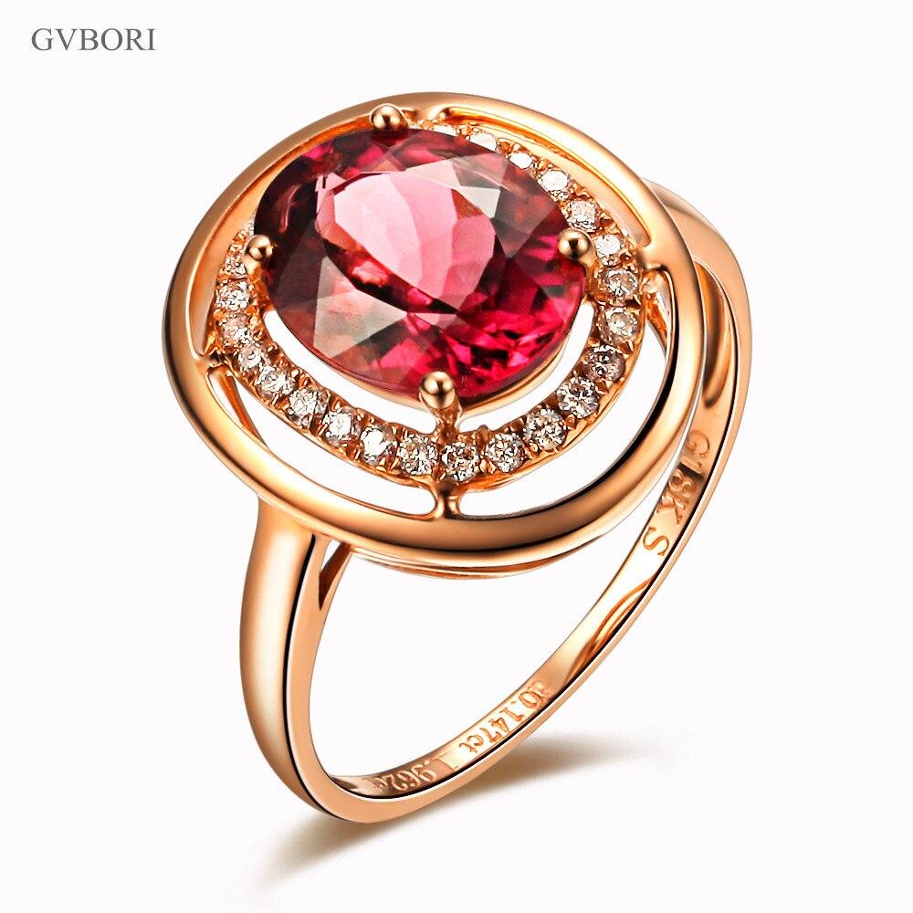 Luxury Gvbori 18k Rose Gold Natural Red Tourmaline Gemstone Ring Women  Diamond Wedding Ring Fine Jewelry