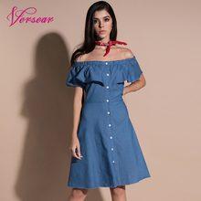 03d003f2f6 Versear mujeres Midi Denim vestido Sexy de hombro volantes botones alta  cintura A-Line vestido de Jean azul 2018 de las mujeres .