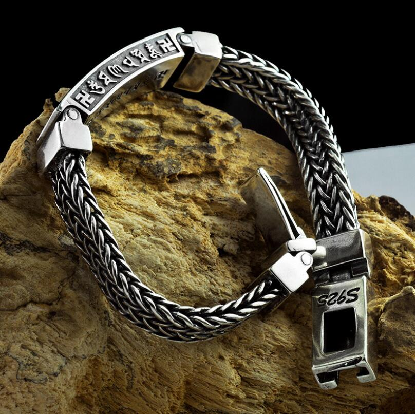 Carved Buddha Word hand-woven solid silver lock bangle bracelet (HY) wooden breads hand woven wrap bracelet