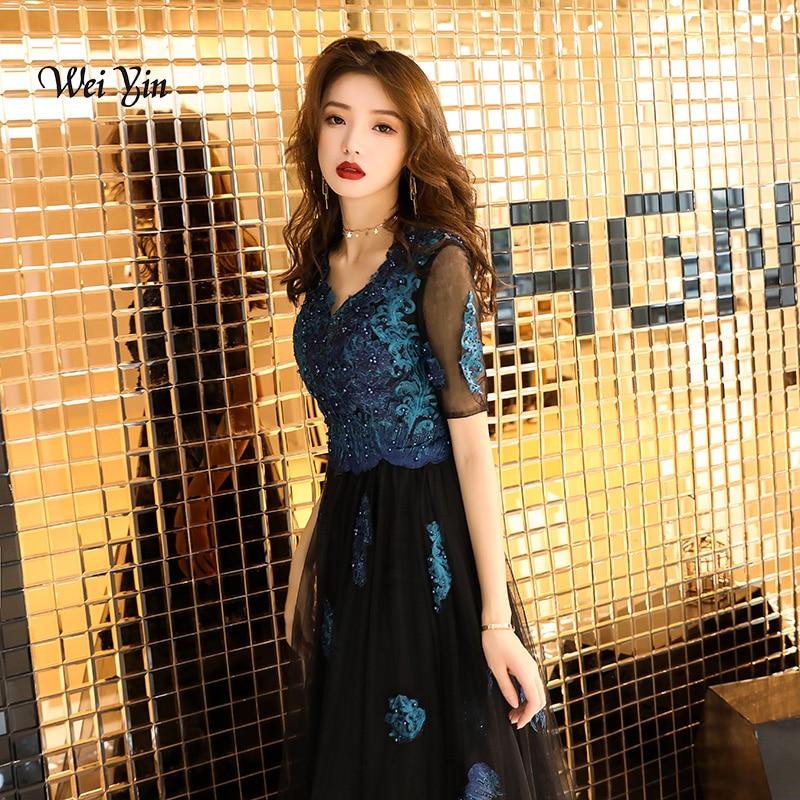 weiyin Embroidery V-Neck Beads Bodice Open Back A Line Long   Evening     Dress   Party Elegant Vestido De Festa Black Prom Gowns WY980