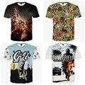 Alta qualidade meninos grandes pop ocasional curto-de mangas compridas em torno do pescoço personalizado tridimensional padrão T-shirt impresso 14-20 anos de idade