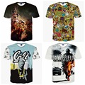 High-quality big boys casual pop short-sleeved round neck personalized three-dimensional pattern printed T-shirt 14-20 years old