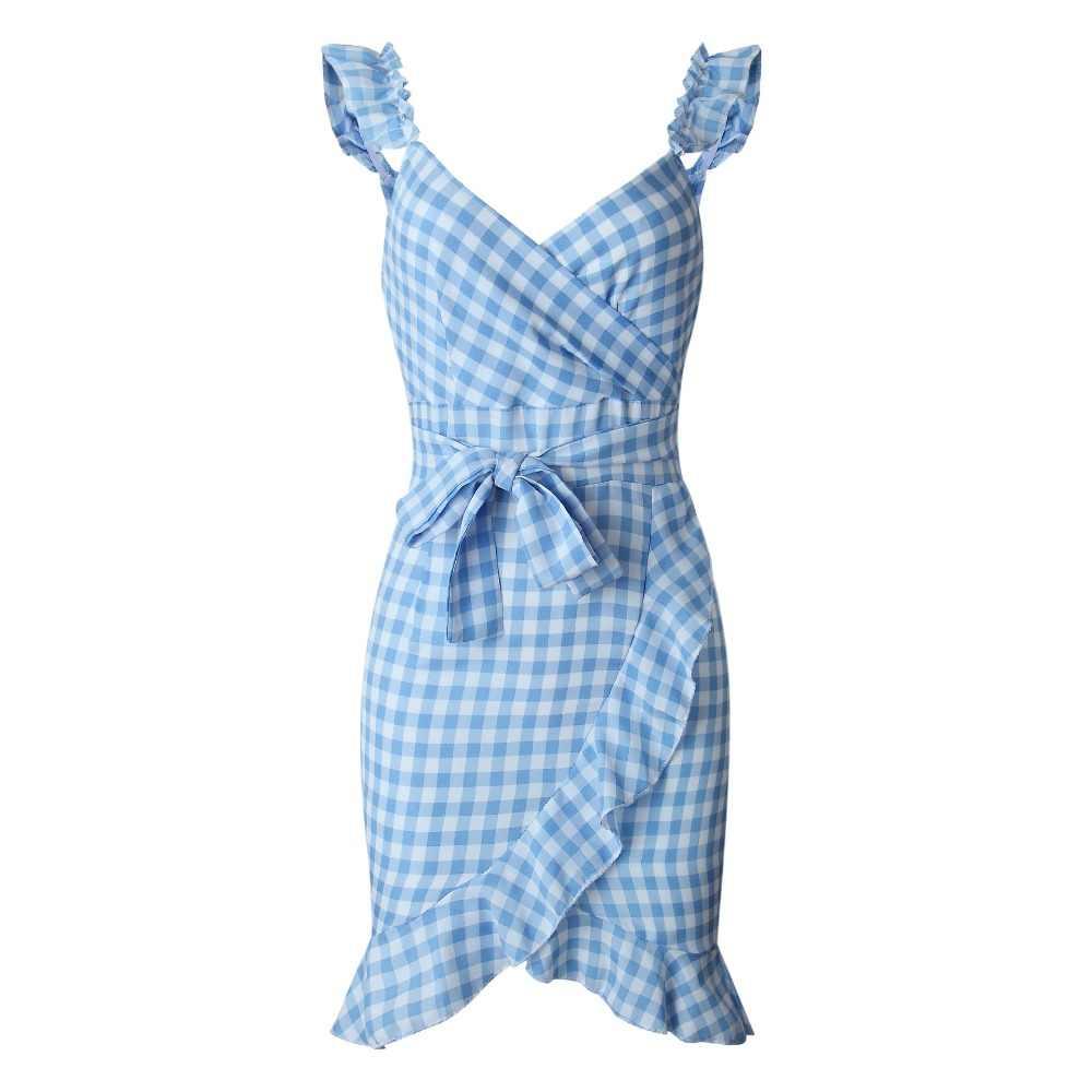 Летнее платье женское с v-образным вырезом без рукавов Спагетти сарафан на ремне wrap Мини Платья Нерегулярные оборки спинки плед 2019 Vestidos