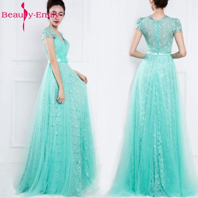 Mint Green Lace Wedding Party Dress Long See Through Back With Short ...