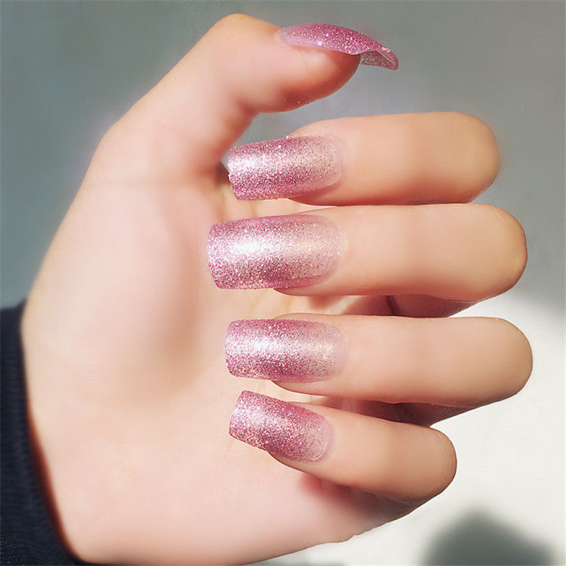 24pcs glitter pink long fake nails
