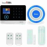 SmartYIBA RFID Wifi Ev Hırsız Alarm Sistemi Sensörü Dedektörü Alarm Mavi Flaş Siren Ile Kablosuz GSM SMS Alarm Hareket Alarmı
