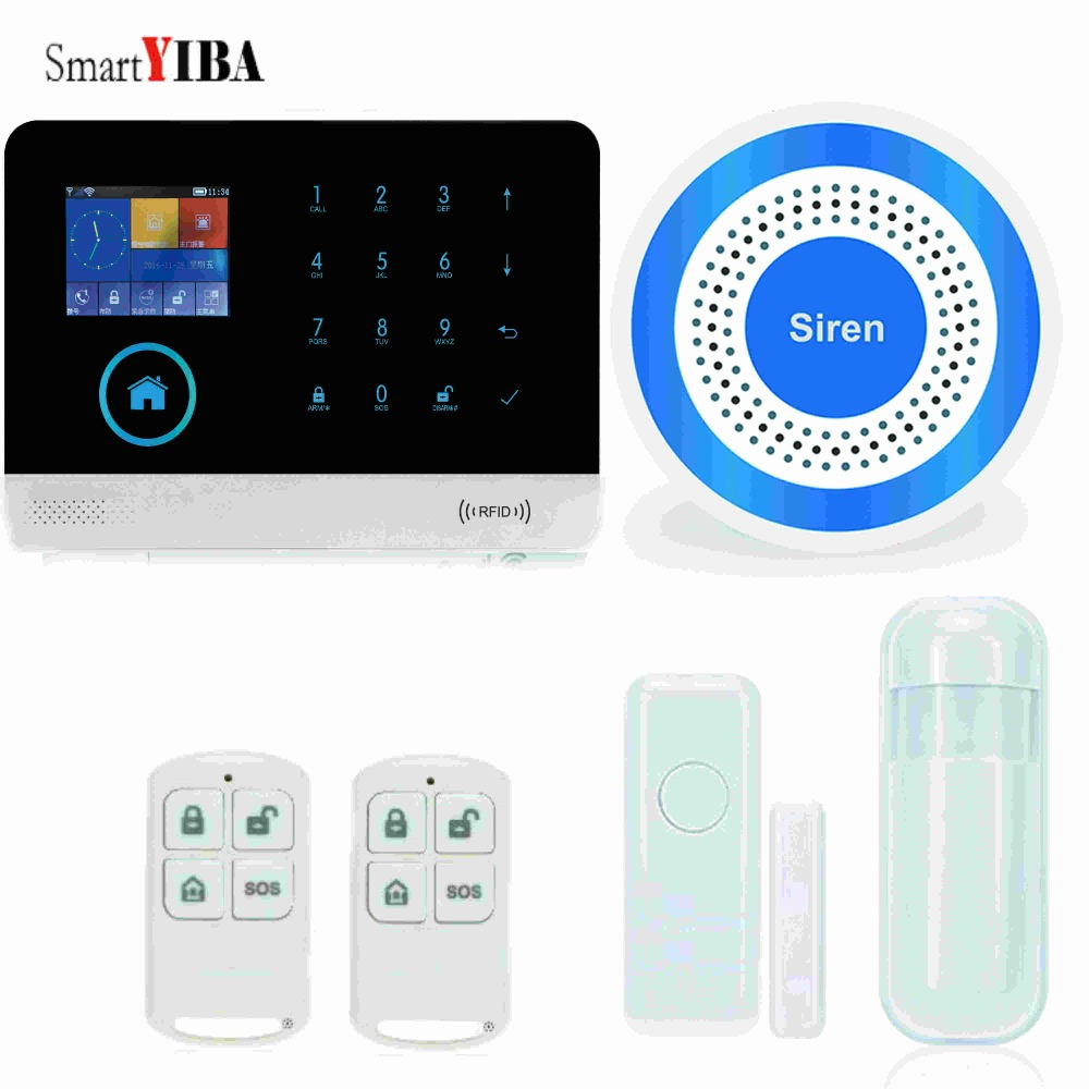 SmartYIBA RFID Wifi Home Burglar Alarm System Sensor Detector Alarm Wireless GSM SMS Alarm With Blue Flash Siren Motion Alarm fuers wifi gsm sms home alarm system security alarm new wireless pet friendly pir motion detector waterproof strobe siren