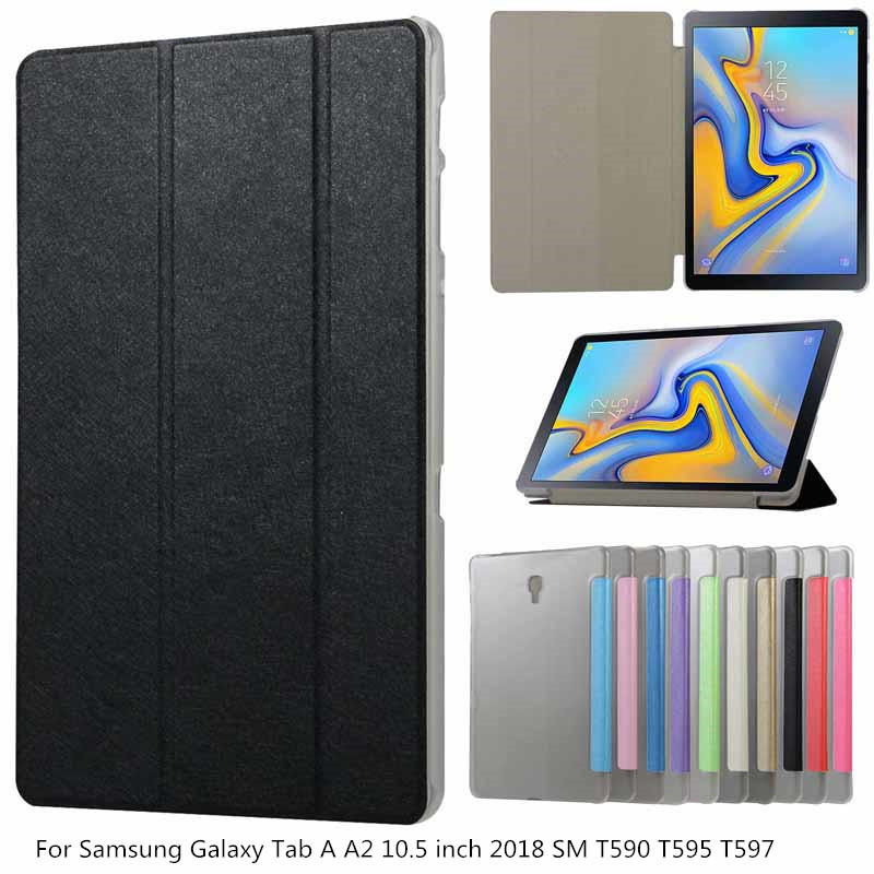 <font><b>Case</b></font> For Samsung Galaxy Tab A A2 10.5 inch 2018 <font><b>SM</b></font> <font><b>T590</b></font> T595 T597 Leather Transparent Stand Cover For Galaxy Tab A2 10.5 <font><b>Case</b></font> image