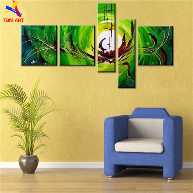 5pcs Handpainted Modern Abstract Oil Painting on Canvas No Framed Wall Art for Living Room Decoration Green Color Thick Textured