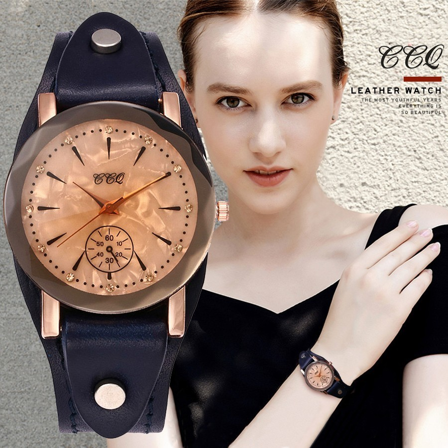 Vintage Cow Leather Bracelet Watch Casual CCQ Brand Unisex Women Men Leather Quartz Wristwatches Clock Gift Montre Femme Hot