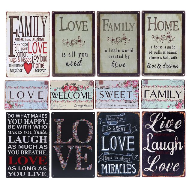 Wecome To My Home Metal Signs Vintage Live Laugh Love Tin Plaque For Bar Pub Family
