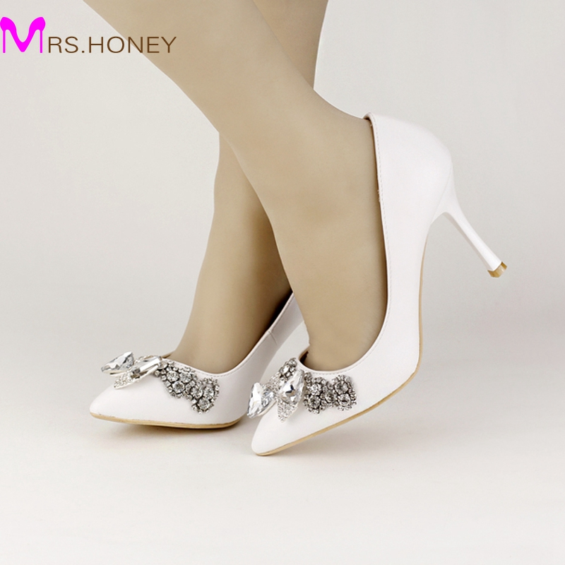 ФОТО White Soft Leather Bridal Dress Shoes Pointed Toe Wedding Shoes 5cm/7cm/9cm Shining Crystal Prom Party High Heels New Arrival