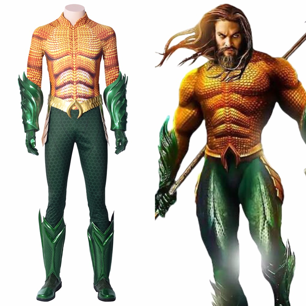 Justice League Cosplay Aquaman Costume Shoes Arthur Curry Jumpsuit Boots Outfit Men Adult Halloween Carnival Costume Superhero