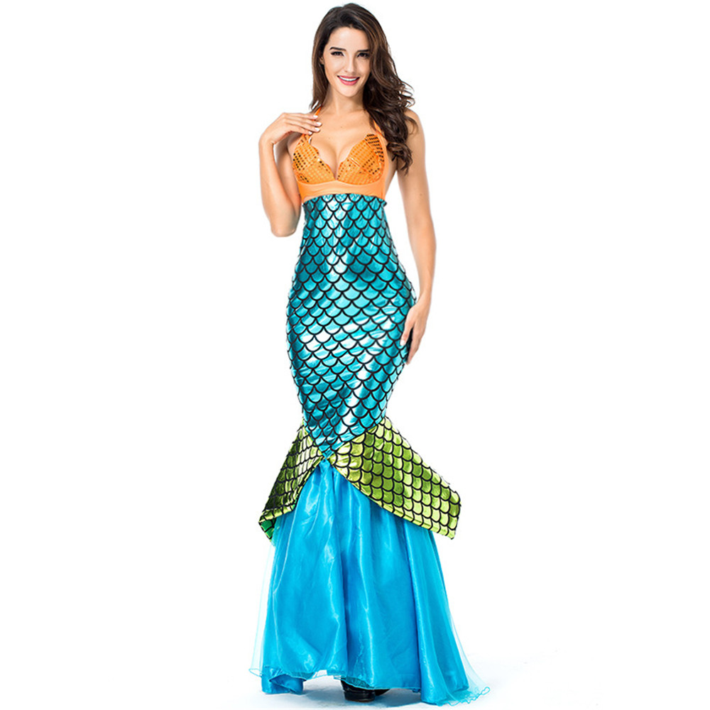 adult girl femme princess Womens bar Halloween Carnival Costume Set Cosplay Fancy Party Sexy Mermaid Long Maxi Dress
