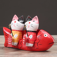 Europeo stile Cinese Pesca cat girl Regalo di Nozze a casa desktop decor decorazione ornamenti (A681)