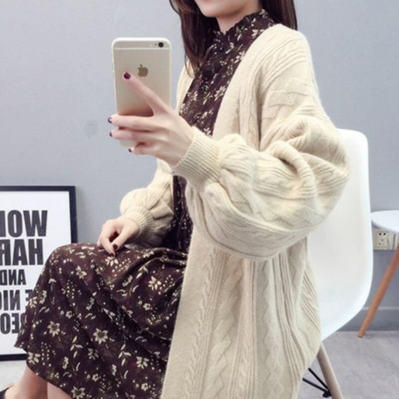 Women\`s Knit Cardigan Fashion Loose Korean Sweater Autumn Winter Twist Sweater Jacket 2019 New Lantern Sleeve Knit Cardigan (2)