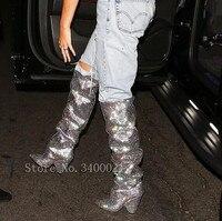 Новые модные ботфорты Женские сапоги до колена шипы на высоком каблуке с сияющими блестками Роскошная обувь с украшением в виде кристаллов
