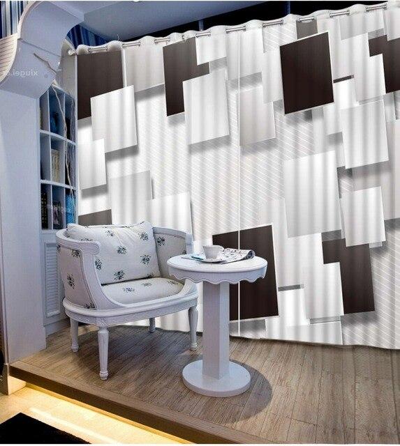 Nuovo Stile Pastorale in bianco e nero spazio tende soggiorno tende ...