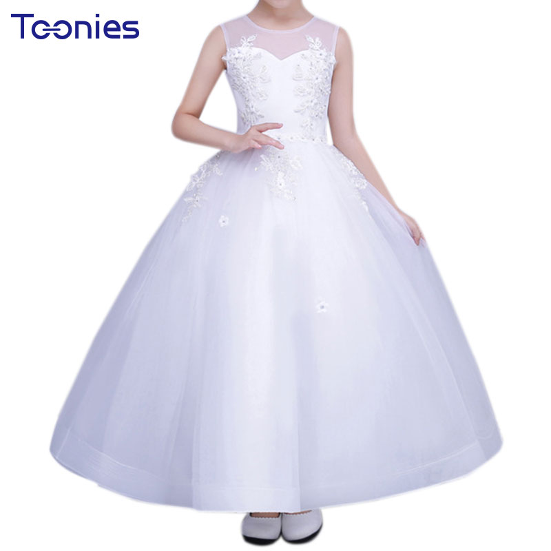 Host Show Ball Gown Princess Costume Embroidery Flower Wedding Evening Formal Girls Dress Gorgeous Birthday Party Child Vestidos new arrival hot sale toddler princess girls sleeveless ball gown costume latin show fashion formal dancing dress