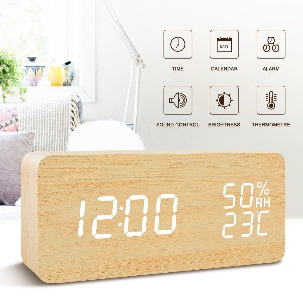 Original LED Wooden Alarm Clocks Temperature Sounds Control LED Display Desktop Digital Table Clocks Multi Functional Watch Sale