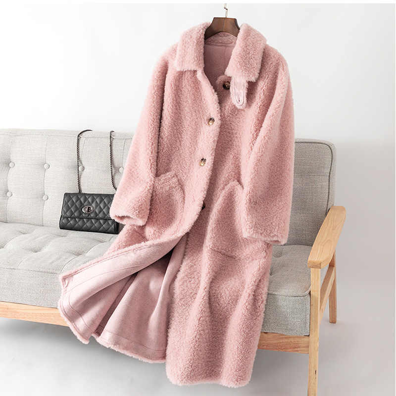Maylofuer autumn and Winter real natural Lamb Wool Fur Coat women warm fashion Hot Sale Women's Winter Lapel Wool Overcoat