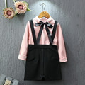 New Fashion Children Clothing Set Kids Girls Autumn Clothes Long Sleeve Pink Blouse+Overall Black Skirt 2pcs Girls Outfits 2-7Y