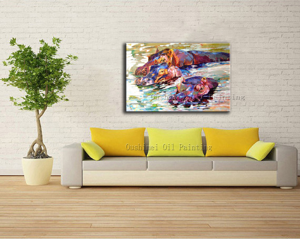 Free Shipping High Quality Modern Impression Hippo Oil Painting On ...