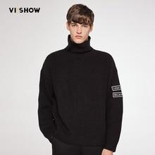 Viishow Свитер с воротником Для мужчин Пуловеры oversize печати Тонкий Для мужчин Вязание Свитеры для женщин Рождественский свитер Повседневное длинный свитер ZC08763