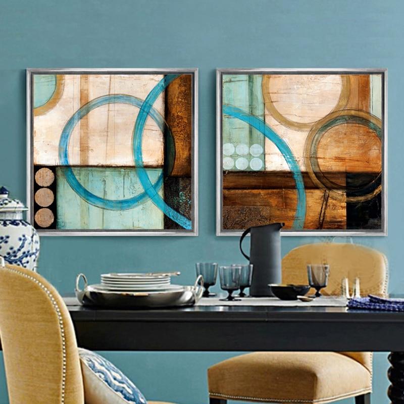 Plava i smeđa krugovi moderne apstraktno slikarstvo platno ispisuje - Kućni dekor - Foto 3