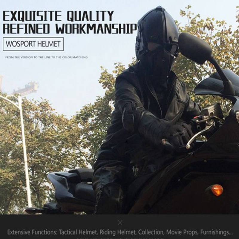 Motor Full Face Helmet Protective Obsidian Casque For Motorcycle Tactical Military Training Polymer Engineering Materials - 4