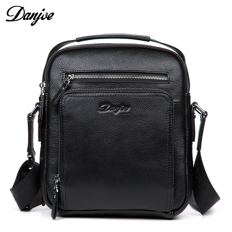 DANJUE Men Genuine Leather Shoulder Bag Real Cowhide Leather Business Black Brown Flap Men's Bag Messenger Crossbody Male Bag black studded flap crossbody bag page 9