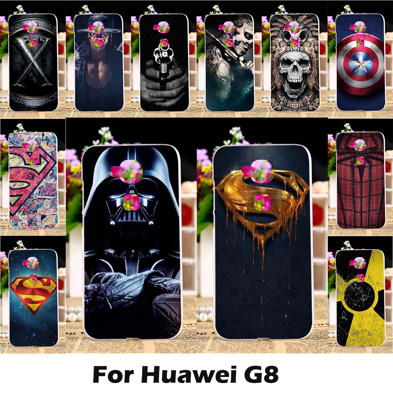 2015 New arrivel DIY good selling  hard painting back protective case with Superman&woman Medal for Huawei G8 (G7 Plus) cover