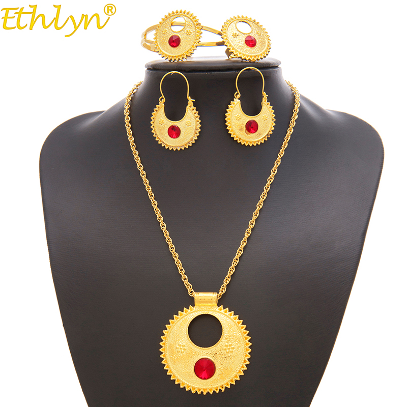 Ethlyn Necklace Bangle Earrings Jewelry-Sets Ethiopian-Sets Eritrean Holiday-Gifts S196