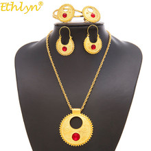 Ethiopia Ethlyn Perhiasan set Kalung Anting Bangle & Gratis Ukuran Cincin set Perhiasan Warna Emas Di Eritrea Terbaik Hadiah Liburan S196(China)