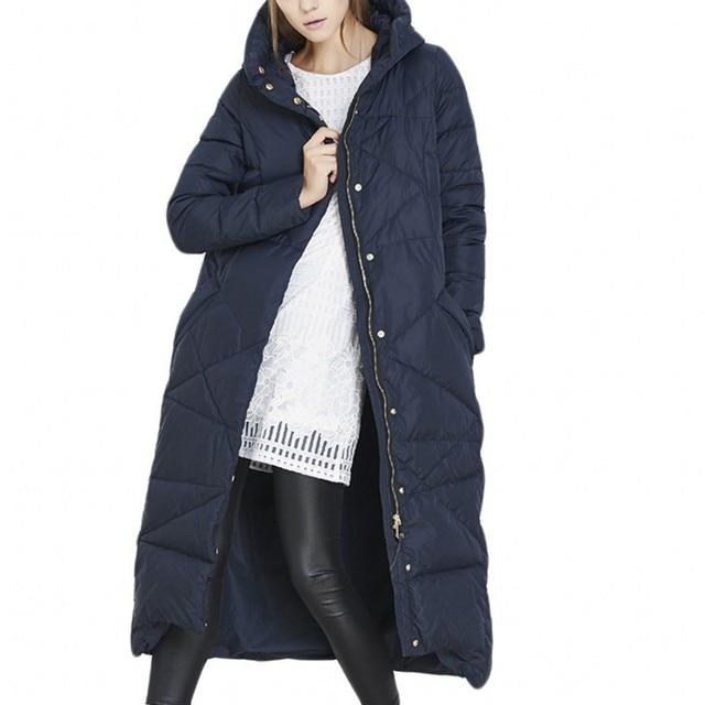 Senhoras Design superior Azul X-Longo Para Baixo Casaco Parka Com Capuz Mulheres Jaqueta de Inverno prova de Frio-Blusão Plus Size Roupas femininas 2016