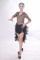 2016 NEW Leopard Latin Dance Dress Girl Competition Ballroom Dance Dress Latin Salsa Dresses Rumba Dress