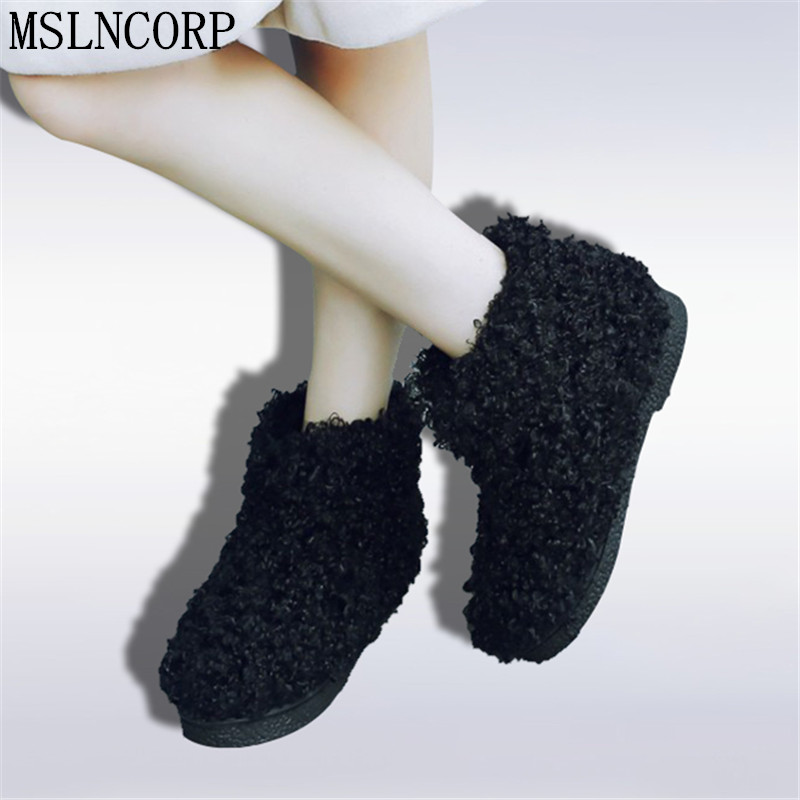 Plus Size 34-45 Vintage Novelty Roman woman Ankle Boots Fur Snow Boots Women Winter Warm slip-on plush solid black Casual Shoes
