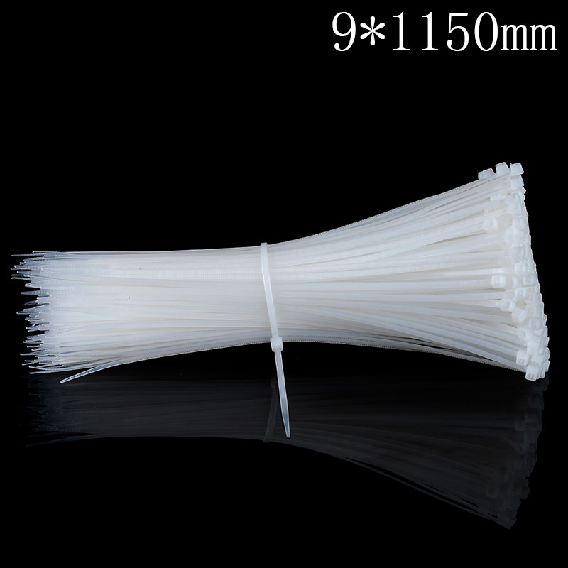 100Pcs/pack 9*1150mm  high quality Factory Standard self-locking Plastic nylon cable ties,wire zip tie self locking cable ties 4 120 fixed tie wire 500