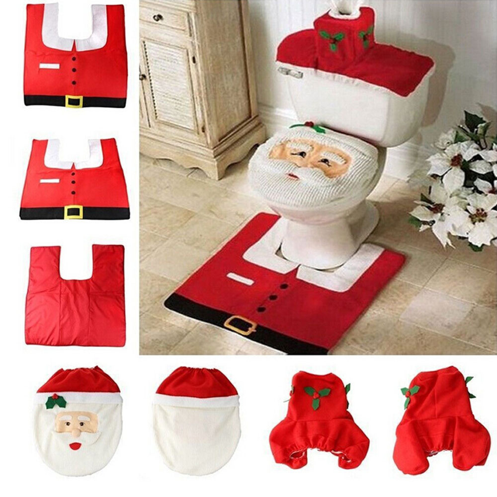 3Pcsset Santa Claus Toilet Seat Cover Bathroom Set Christmas Decorations for Home New Year Product Toilet Seat Cover Decoration